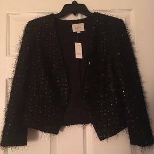 Loft black sparkle tweed jacket nwt 4